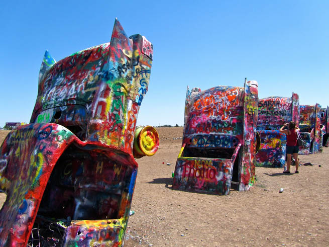Cadillac Ranch is a public art installation and sculpture in Amarillo, Texas, U.S.  CT
