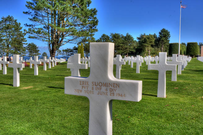 Normandy American Cemetery and Memorial is a World War II cemetery and memorial in Colleville-sur-Mer, Normandy, France, that honors American troops who died in Europe during World War II.