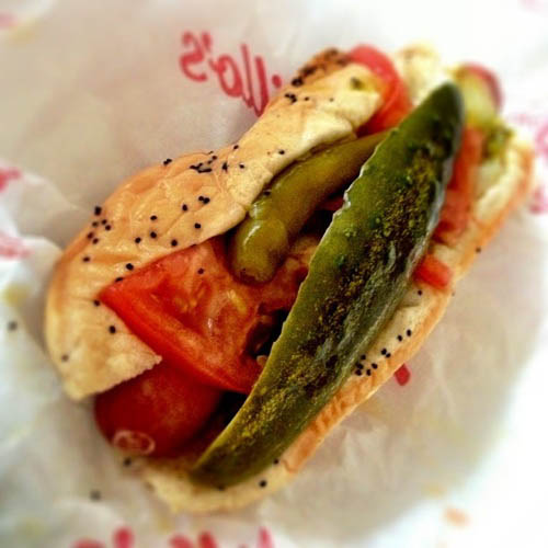 Chicago-style hot dog, Chicago Dog, or Chicago Red Hot is an all-beef frankfurter on a poppy seed bun, originating from the city of Chicago CT