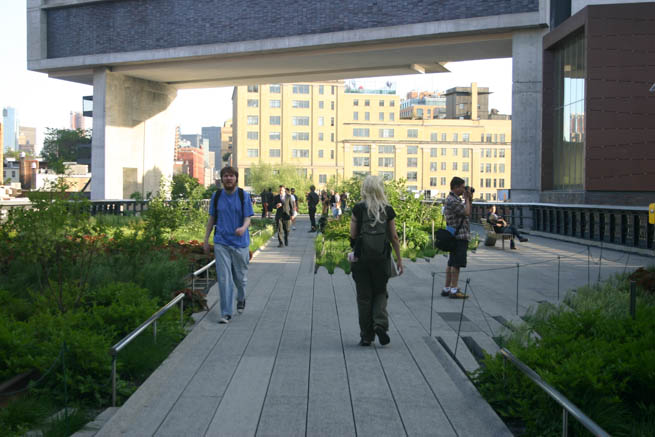High Line is a 1-mile New York City linear park built on a 1.45-mile section of the elevated former New York Central Railroad spur called the West Side Line