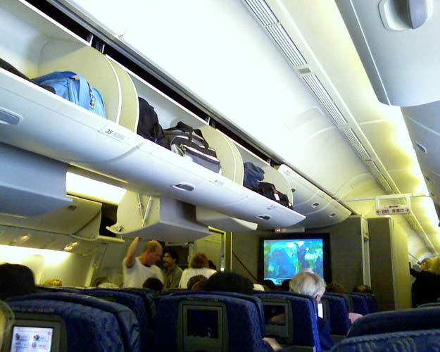 The overhead bin is the shared place above your seat that allows for bag storage.