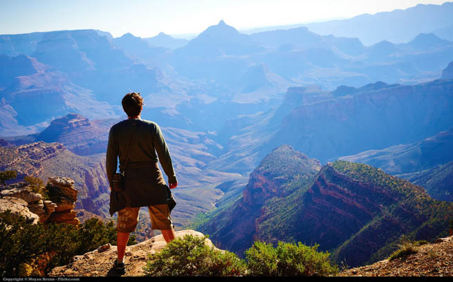 A man looks out over the Grand Canyon.