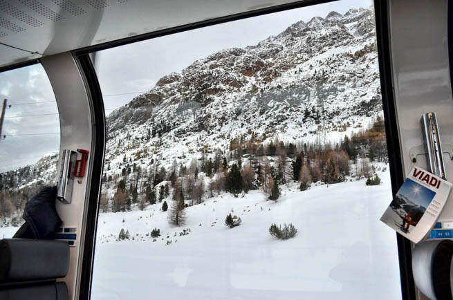 Bernina Express is a train connecting Chur in Switzerland to Poschiavo and Tirano in Italy by crossing the Swiss Edgadin Alps.CT
