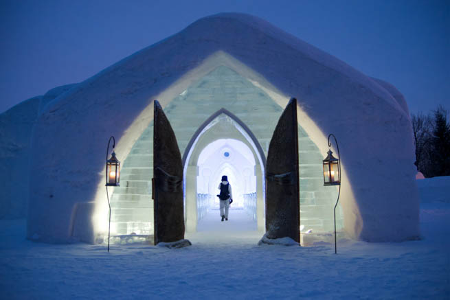 The Ice Hotel  near Quebec City, Quebec, Canada is the first and only true ice hotel in North America. CT