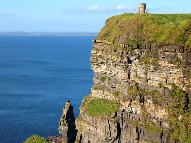 Cliffs of Moher are located at the southwestern edge of the Burren region in County Clare, Ireland