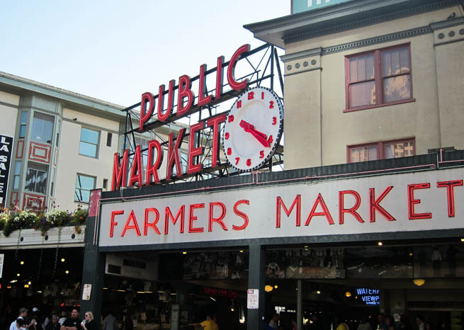Pike Place Market is a public market overlooking the Elliott Bay waterfront in Seattle