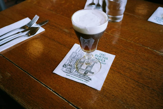 Irish coffee is a cocktail consisting of hot coffee, Irish whiskey, and sugar, stirred, and topped with thick cream