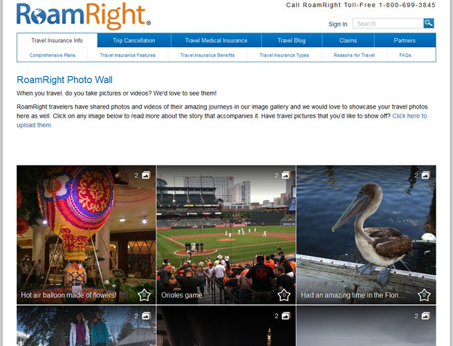 The RoamRight Photo Wall is a great place to share travel photos.
