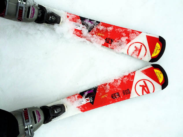 Skis are a pair of long narrow pieces of hard flexible material, typically pointed and turned up at the front, fastened under the feet for gliding over snow FT