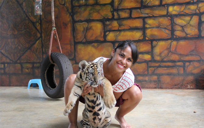 Woman with Tiger Cub