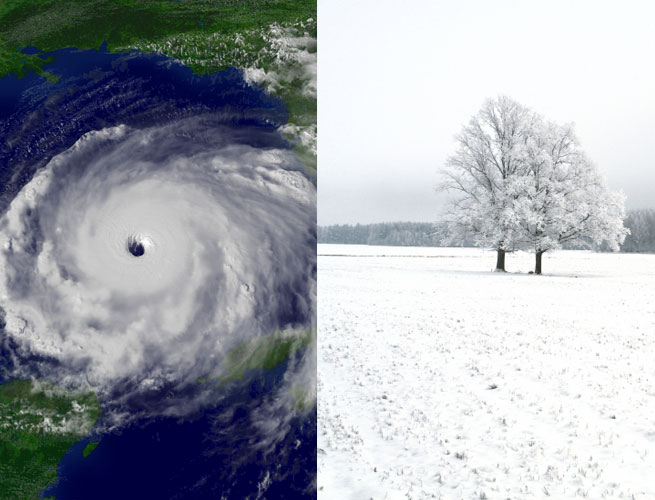 A hurricane is juxtaposed next to a snowy winter scene.