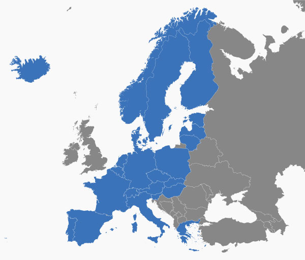 The blue countries are in the Schengen Area.