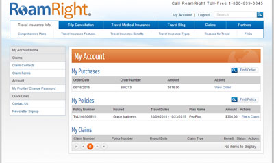 Travelers can use the My Account section to manage their RoamRight policy.