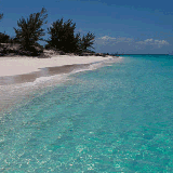 The Bahamas begin just off the east coast of Florida and cascade down to the eastern tip of Cuba and northern Haiti. They are mainly flat coral islands with just a few gentle hills.